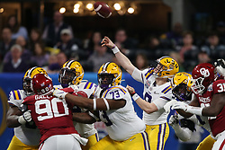 Joe Burrow #9 of the LSU Tigers throws a pass during the first half against the Oklahoma Sooners in the 2019 College Football Playoff Semifinal at the Chick-fil-A Peach Bowl on Saturday, Dec. 28, in Atlanta. (Jason Parkhurst via Abell Images for the Chick-fil-A Peach Bowl)