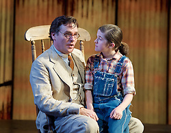 To Kill a Mockingbird <br /> by Harper Lee <br /> at The Barbican Theatre, London, Great Britain <br /> rehearsal <br /> 25th June 2015 <br /> <br /> Ava Potter as Scout <br /> <br /> Robert Sean Leonard as Atticus Finch<br /> <br /> <br /> <br /> Photograph by Elliott Franks <br /> Image licensed to Elliott Franks Photography Services