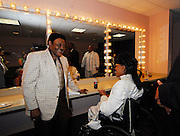 Legendary musician Little Richard poses in his dressing room with Fats Domino after he performed in New Orleans Saturday May 30,2009 as part of the Domino Effect Benefit concert which also featured B.B. King and Chuck Berry. Domino Effect Benefit Concert legendary performers gather in New Orleans at the Arena to raise funds and awarness for hurricane Katrina rebuilding for Fats Domino the Tipatina Foundation and the Drew Brees' foundation. Photo©Suzi Altman ALL IMAGES ©SUZI ALTMAN. IMAGES ARE NOT PUBLIC DOMAIN. CALL OR EMAIL FOR LICENSE, USE, OR TO PURCHASE PRINTS 601-668-9611 OR EMAIL SUZISNAPS@AOL.COMPhoto©Suzi Altman
