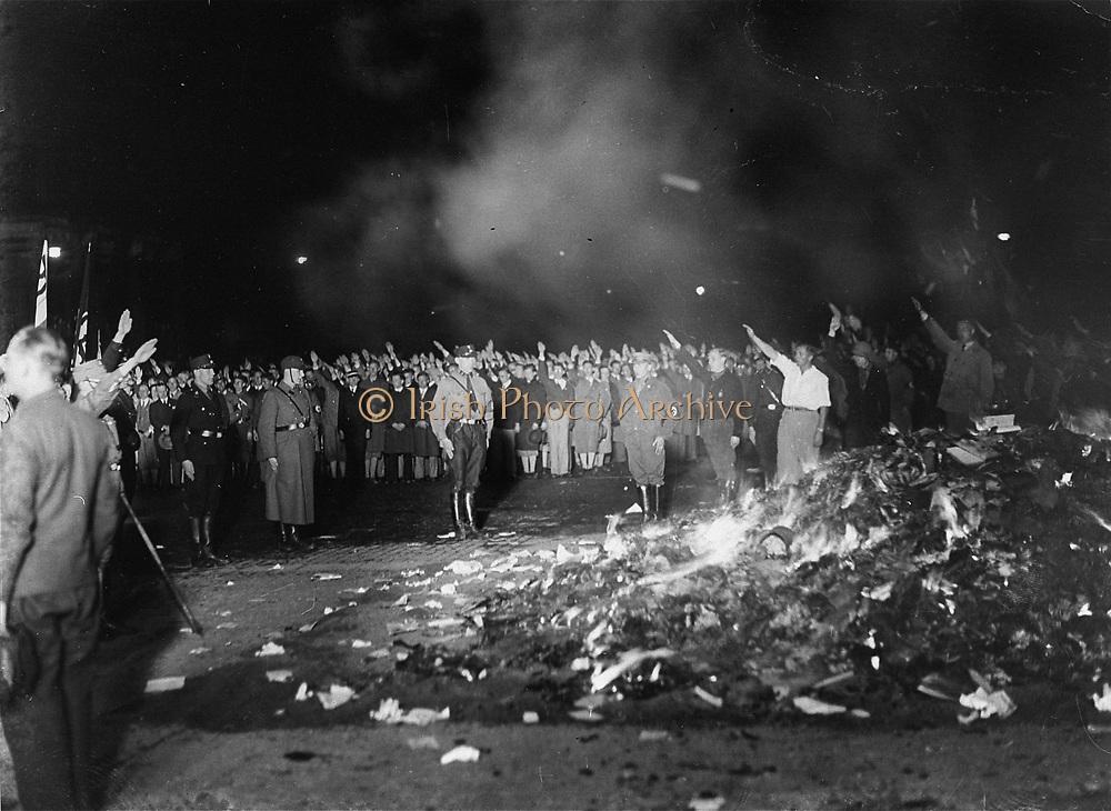 Book burning in the Nazi era. Berlin 1936