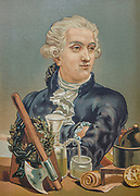 "Antoine-Laurent de Lavoisier (26 August 1743 – 8 May 1794), also Antoine Lavoisier after the French Revolution, was a French nobleman and chemist who was central to the 18th-century chemical revolution and who had a large influence on both the history of chemistry and the history of biology. He is widely considered in popular literature as the ""father of modern chemistry"". From the book La ciencia y sus hombres : vidas de los sabios ilustres desde la antigüedad hasta el siglo XIX T. 3  [Science and its men: lives of the illustrious sages from antiquity to the 19th century Vol 3] By by Figuier, Louis, (1819-1894); Casabó y Pagés, Pelegrín, n. 1831 Published in Barcelona by D. Jaime Seix, editor , 1879 (Imprenta de Baseda y Giró)"