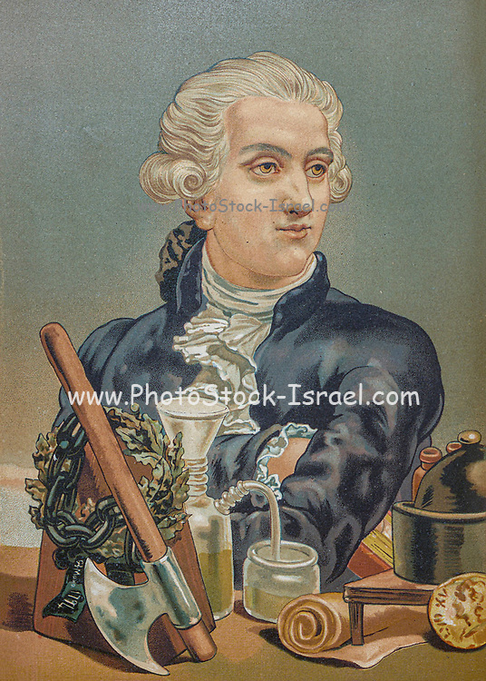 """Antoine-Laurent de Lavoisier (26 August 1743 – 8 May 1794), also Antoine Lavoisier after the French Revolution, was a French nobleman and chemist who was central to the 18th-century chemical revolution and who had a large influence on both the history of chemistry and the history of biology. He is widely considered in popular literature as the """"father of modern chemistry"""". From the book La ciencia y sus hombres : vidas de los sabios ilustres desde la antigüedad hasta el siglo XIX T. 3  [Science and its men: lives of the illustrious sages from antiquity to the 19th century Vol 3] By by Figuier, Louis, (1819-1894); Casabó y Pagés, Pelegrín, n. 1831 Published in Barcelona by D. Jaime Seix, editor , 1879 (Imprenta de Baseda y Giró)"""