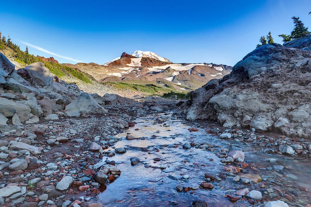 A view of Mount Rainier from the Spray Park Trail in Mount Rainier National Park located in Washington. Photo/Andrew Shurtleff Photography, LLC
