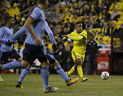 October 31, 2017 - Columbus, OH, USA - Columbus Crew forward Ola Kamara (11) takes a shot toward the goal during the first half against the New York City FC of an MLS Eastern Conference Semifinal playoff game against the New York City FC in Columbus, Ohio, on Tuesday, Oct. 31, 2017. (Credit Image: © Adam Cairns/TNS via ZUMA Wire)