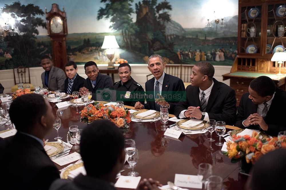 President Barack Obama meets with My Brother's Keeper mentees during lunch in the Diplomatic Reception Room of the White House, Feb. 27, 2015. (Official White House Photo by Lawrence Jackson)<br /> <br /> This official White House photograph is being made available only for publication by news organizations and/or for personal use printing by the subject(s) of the photograph. The photograph may not be manipulated in any way and may not be used in commercial or political materials, advertisements, emails, products, promotions that in any way suggests approval or endorsement of the President, the First Family, or the White House.