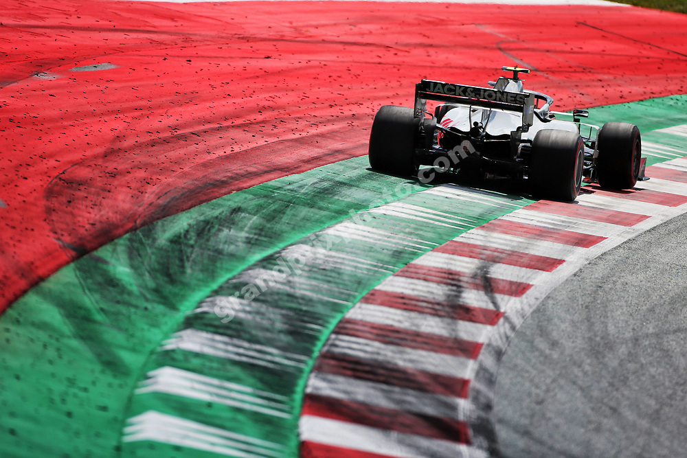 Kevin Magnussen (Haas-Ferrari) seen from behind on the kerbs / track limit during practice before the 2020 Austrian Grand Prix at the Red Bull Ring in Spielberg. Photo: XPB/Grand Prix Photo