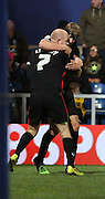 Jason Kennedy celebrating scoring Carlisle United second goal and putting them in the lead during the Capital One Cup match between Queens Park Rangers and Carlisle United at the Loftus Road Stadium, London, England on 25 August 2015. Photo by Matthew Redman.