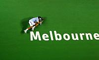 Australian Open Tennis Melbourne 28/01/2007<br /> Roger Federer (SUI) sinks to the floor as he wins Mens singles final  <br /> Photo Roger Parker Fotosports International