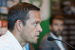 Nenad Protega and Luka Elsner at press conference of NK Olimpija Ljubljana about new head coach Luka Elsner, on September 2, 2016 in Champions Lounge, Austria Trend Hotel, Ljubljana, Slovenia. Photo By Matic Klansek Velej / Sportida