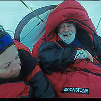 88-year old Norman Vaughan and his wife Carolyn wait out a storm during their first ascent of Mount Vaughan, which was named after Norman for his service with Richard Byrd in 1929.