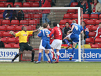 Photo: Mark Stephenson.<br />Walsall v Accrington Stanley. Coca Cola League 2. 31/03/2007. Accrington's Robert Williams heads in his goal to take the lead 2-1
