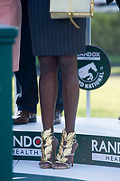National Hunt Horse Racing - 2017 Randox Grand National Festival - Saturday, Day Three [Grand National Day]<br /> <br /> Gold greek style shoes of unidentified black female partner of one of the owners of 3rd placed Saint Are,  on the podium at the presentation for the  Randox Health Grand National  at Aintree Racecourse.<br /> <br /> COLORSPORT/WINSTON BYNORTH<br /> <br /> <br /> <br /> <br /> <br /> <br /> <br /> <br /> <br /> <br /> National Hunt Horse Racing - 2017 Randox Grand National Festival - Saturday, Day Three [Grand National Day]<br /> <br />  in the 1st race the 1.45 Gaskells Handicap Hurdle at Aintree Racecourse.<br /> <br /> COLORSPORT/WINSTON BYNORTH