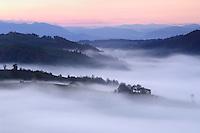 Cultural landscape in the southern carpathians, near Zarnesti, Transylvania, Southern Carpathians, Romania