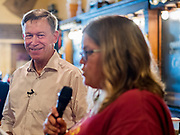08 JULY 2019 - CRESTON, IOWA: Hickenlooper is running to be the Democratic nominee in the 2020 Presidential election. At least five staffers left Hickenlooper's campaign last week, including his campaign manager, communications director, digital director and finance director. Hickenlooper named M.E. Smith, who worked on Hickenlooper's successful reelection as Colorado Governor in 2014, as his campaign manager on July 1. Iowa is the first state to hold a presidential selection event in the 2020 election cycle. The Iowa caucuses are February 3, 2020.               PHOTO BY JACK KURTZ