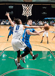 March 20, 2017 - Reno, Nevada, U.S - Reno Bighorn Forward WILL DAVIS II (0) blocks a shot by Texas Legends Guard KYLE COLLINSWORTH (6) during the NBA D-League Basketball game between the Reno Bighorns and the Texas Legends at the Reno Events Center in Reno, Nevada. (Credit Image: © Jeff Mulvihill via ZUMA Wire)