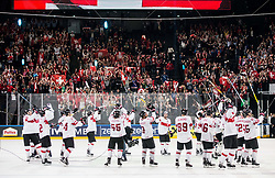 Players of Switzerland celebrate after winning during the 2017 IIHF Men's World Championship group B Ice hockey match between National Teams of Canada and Switzerland, on May 13, 2017 in AccorHotels Arena in Paris, France. Photo by Vid Ponikvar / Sportida