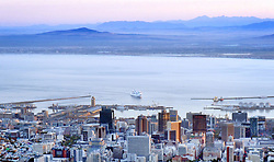 Cape Town - 19 December 2017 - Seen from the top of table mountain, the Silver Spirit luxury cruise ship enters Cape Town harbour. Silver Spirit is a luxury cruise ship operated by Silversea Cruises, a privately owned luxury cruise line. The sixth and largest ship of the Silversea fleet, she entered service in 2009. Picture: Armand Hough / African News Agency / ANA