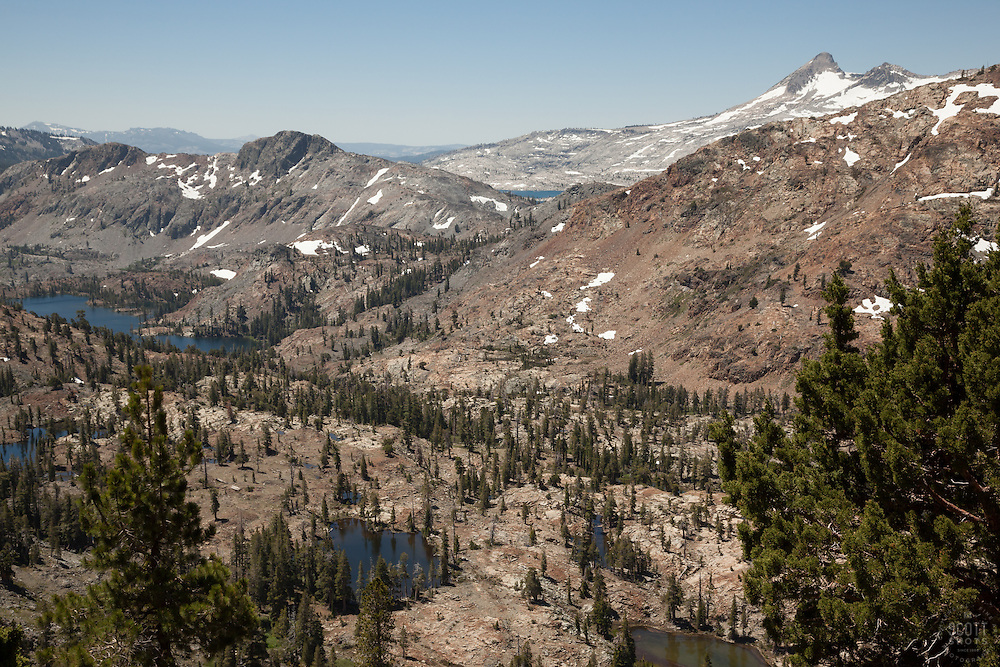 """""""Desolation Wilderness View 2"""" - Photograph from a vista point of the Tahoe Desolation Wilderness. Susie Lake can be seen on the left and a sliver view of Lake Aloha can be seen in the top distance."""