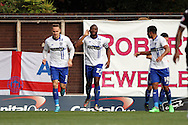 Nathan Cameron of Bury (c) celebrates with his teammates after scoring his teams 1st goal.  Skybet football league one match , Bury v Wigan Athletic at the JD Stadium in Bury, Lancs on Saturday 10th October 2015.<br /> pic by Chris Stading, Andrew Orchard sports photography.