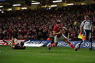 Leigh Halfpenny of Wales scores his 2nd try of the match. RBS Six nations championship 2012, Wales v Scotland at the Millennium Stadium in Cardiff on Sunday 12th Feb 2012.  pic by Andrew Orchard, Andrew Orchard sports photography,