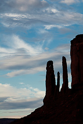 North America, Arizona, Four Corners, Monument Valley Tribal Park, Three Sisters rock formation