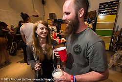 Courtney Marriott at the after-Party at Revival Cycles on Sunday after the Handbuilt Motorcycle Show. Austin, TX. April 12, 2015.  Photography ©2015 Michael Lichter.