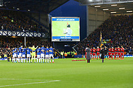 Both teams and the stadium remember those that have fallen. Premier league match, Everton vs Watford at Goodison Park in Liverpool, Merseyside on Sunday 5th November 2017.<br /> pic by Chris Stading, Andrew Orchard sports photography.