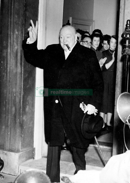 April 1, 1955 - London, England, U.K. - The greatest of all Britain's war leaders, WINSTON CHURCHILL was uniquely stirred by the challenge of war and found his fulfillment in leading the democracies to victory. It was to prove more important that as a democrat, he was disgusted by the rise of totalitarian systems in Europe. PICTURED: Churchill outside No. 10 Downing Street. (Credit Image: © Keystone Press Agency/Keystone USA via ZUMAPRESS.com)