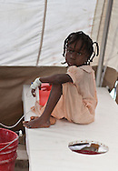 The cholera epedemic spread to Port-au-Prince where NGO's set up clinics to treat the growing number of victims. /// Slyvie Lafoir, 8 years old being treated  at Martissant 25 , acholera treatment center in Port-au-Prince run by Doctors without Boarders (MSF) treats hundreds of cholera patients a day.