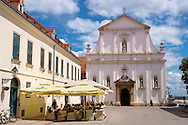 Baroque facade of the Jesuit  Crkva sv. Katarine [ Church St. Catherine ] Gradec ,  St , Zagreb, Croatia .<br /> <br /> Visit our CROATIA HISTORIC SITES PHOTO COLLECTIONS for more photos to download or buy as wall art prints https://funkystock.photoshelter.com/gallery-collection/Pictures-Images-of-Croatia-Photos-of-Croatian-Historic-Landmark-Sites/C0000cY_V8uDo_ls