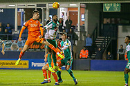 Luton Town forward Aron Jarvis (27) heads towards the goal during the EFL Sky Bet League 1 match between Luton Town and Plymouth Argyle at Kenilworth Road, Luton, England on 17 November 2018.