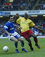 Photo: Marc Atkins.<br /> Watford v Ipswich Town. The FA Cup. 17/02/2007. Gary Roberts of Ipswich (L) in action with Danny Shittu of Watford.
