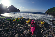 Kayaks, Pelekunu, Molokai, Hawaii<br />
