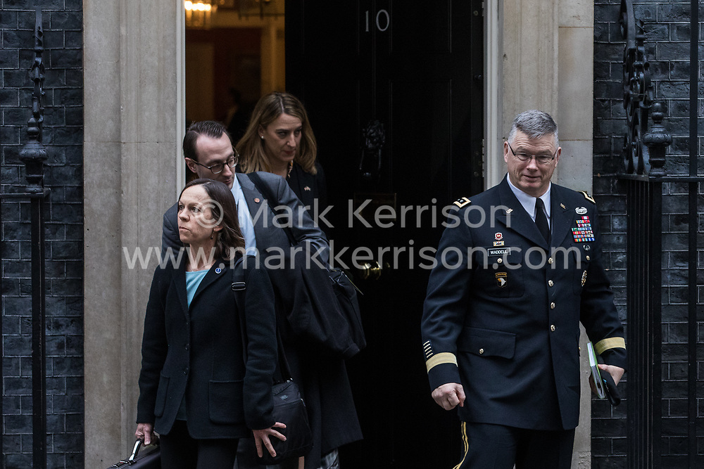 London, UK. 30 January, 2020. Ricky Waddell, Assistant to the Chairman of the Joint Chiefs of Staff, leaves 10 Downing Street with the delegation accompanying US Secretary of State Mike Pompeo following a meeting with Prime Minister Boris Johnson. Topics discussed are expected to have included the role of Chinese multinational technology company Huawei in the construction of the UK's 5G digital network.