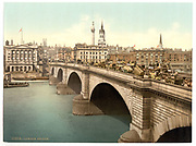 Stunning Old photochrome prints turn back the clock in London <br /><br />colourised postcards from the Victorian era,  postcards were made using photochrom - a method of producing colourised photos from negatives<br /><br />Photo shows: London Bridge, England, between 1890 and 1900<br />©Library of Congress/Exclusivepix Media