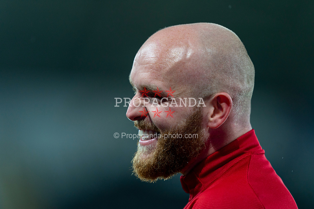 SWANSEA, WALES - Thursday, November 12, 2020: Wales' Jonathan Williams during the pre-match warm-up before an International Friendly match between Wales and the USA at the Liberty Stadium. (Pic by David Rawcliffe/Propaganda)