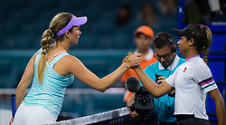 March 22, 2019 - Miami, FLORIDA, USA - Danielle Collins & Whitney Osuigwe of the United States at the net after their second-round match at the 2019 Miami Open WTA Premier Mandatory tennis tournament (Credit Image: © AFP7 via ZUMA Wire)