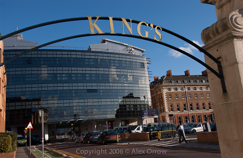 Kings College Hospital and sign, London. UK
