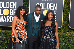 January 6, 2019 - Los Angeles, California, U.S. - Sabrina Dhowe and Idris Elba with his daughter Isan Elba Golden Globe Ambassador during red carpet arrivals for the 76th Annual Golden Globe Awards at The Beverly Hilton Hotel. (Credit Image: © Kevin Sullivan via ZUMA Wire)