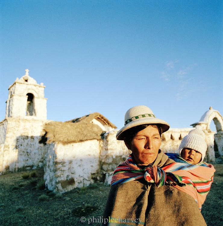 Woman and girl in Tomarapi, Sajama National Park, Bolivia