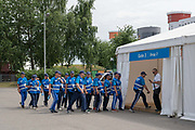 Event security entering the athletes village for the 2nd European Games on the 20th June 2019 in Minsk in Belarus. The 2nd European Games is held in Minsk, Belarus from the 21st June to the 30th June.