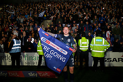 Nicky Adams of Bury celebrates after the final whistle of the match - Mandatory by-line: James Healey/JMP - 30/04/2019 - FOOTBALL - Prenton Park - Birkenhead, England - Tranmere Rovers v Bury - Sky Bet League Two