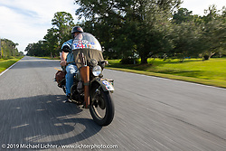 Riding his 1942 military Harley-Davidson WLA, Kelly Modlin joined up with friends for a few days on the Cross Country Chase motorcycle endurance run from Sault Sainte Marie, MI to Key West, FL. (for vintage bikes from 1930-1948). 287 mile ride of Stage-8 from Tallahassee to Lakeland, FL USA. Friday, September 13, 2019. Photography ©2019 Michael Lichter.