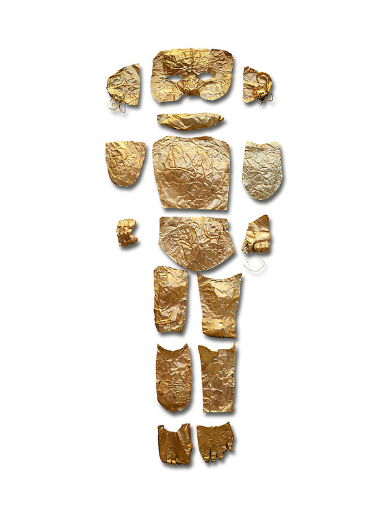 Body shaped Mycenaean gold cut outs from Grave III, 'Grave of a Women', Grave Circle A, Myenae, Greece. National Archaeological Museum Athens. White Background.<br /> <br /> Cat No 146. 16th century BC.<br /> <br /> A unique gold body covering and face of an infant child mad out of pieces of gold foll<br /> <br /> Shaft Grave III, the so-called 'Grave of the Women,' contained three female and two infant interments. The women were literally covered in gold jewelry and wore massive gold diadems, while the infants were overlaid with gold foil. .<br /> <br /> If you prefer to buy from our ALAMY PHOTO LIBRARY  Collection visit : https://www.alamy.com/portfolio/paul-williams-funkystock/mycenaean-art-artefacts.html . Type -   Athens    - into the LOWER SEARCH WITHIN GALLERY box. Refine search by adding background colour, place, museum etc<br /> <br /> Visit our MYCENAEN ART PHOTO COLLECTIONS for more photos to download  as wall art prints https://funkystock.photoshelter.com/gallery-collection/Pictures-Images-of-Ancient-Mycenaean-Art-Artefacts-Archaeology-Sites/C0000xRC5WLQcbhQ