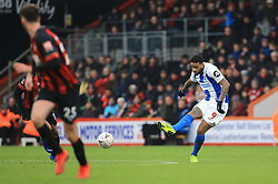 Brighton & Hove Albion's Jurgen Locadia (right) in action during the Emirates FA Cup, third round match at the Vitality Stadium, Bournemouth.