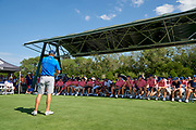 Jordan Spieth leads a workshop during the Under Armour® / Jordan Spieth Championship presented by American Campus Communities at Trinity Forest Golf Club in Dallas, Texas on August 15, 2017. CREDIT: Cooper Neill for The Wall Street Journal<br /> JRGOLF