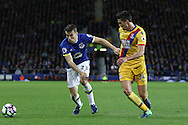 Seamus Coleman of Everton and Martin Kelly of Crystal Palace battle for the ball. Premier league match, Everton v Crystal Palace at Goodison Park in Liverpool, Merseyside on Friday 30th September 2016.<br /> pic by Chris Stading, Andrew Orchard sports photography.
