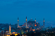 The Blue Mosque, Sultanahmet Camii or Sultan Ahmed Mosque, 17th Century monument with domes and minarets in Istanbul, Republic of Turkey