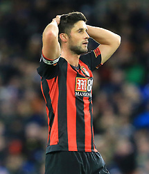 Bournemouth's Andrew Surman reacts after a shot is saved during the Premier League match at the Cardiff City Stadium.
