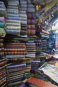 Israel, Jerusalem, Old city, The market fabrics on display